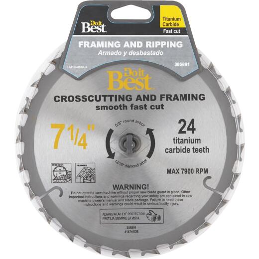 Do it Best Professional 7-1/4 In. 24-Tooth Crosscut/Framing Circular Saw Blade
